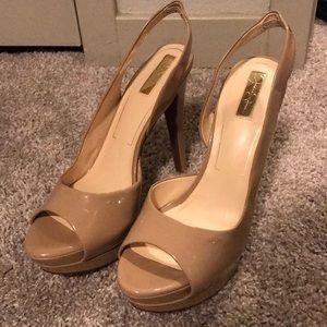 Jessica Simpson nude open toed sling backs heels